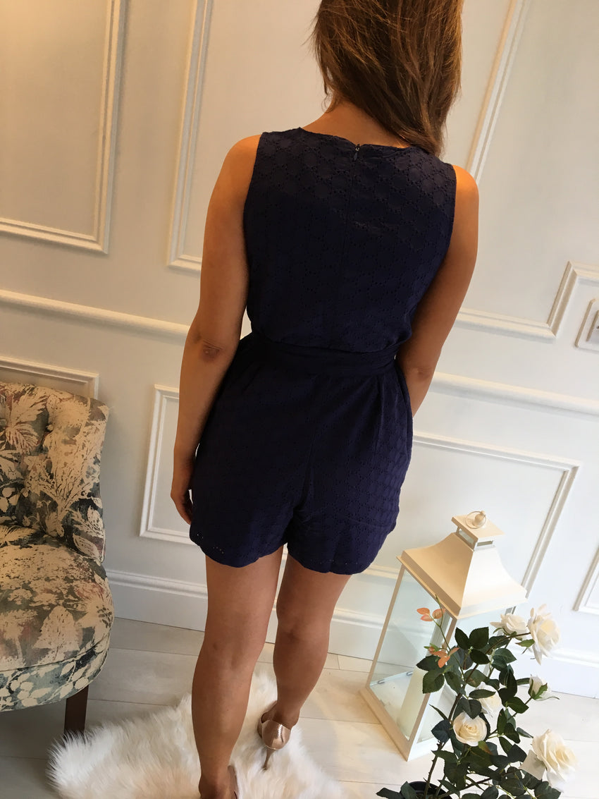Navy Crochet Detail Playsuit