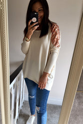 Cream leaf sequin jumper