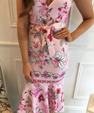 Printed Pink Fishtail Dress