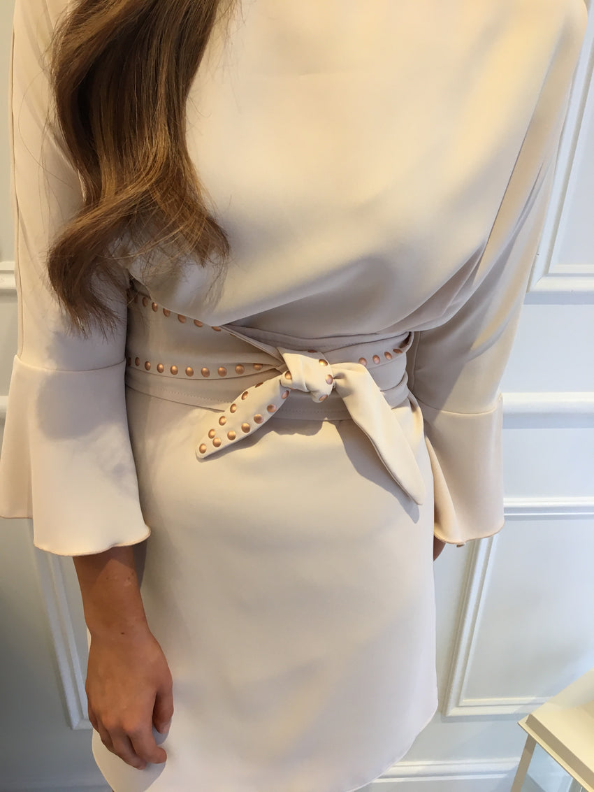 85d736ab484b Nude studded detail belted dress – Fayebella