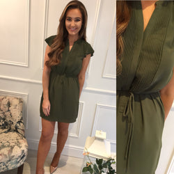 Khaki Shift Tie Dress