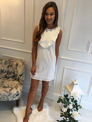 White Crochet Frill Shift Dress