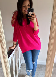 Pink leaf sequin Detail jumper