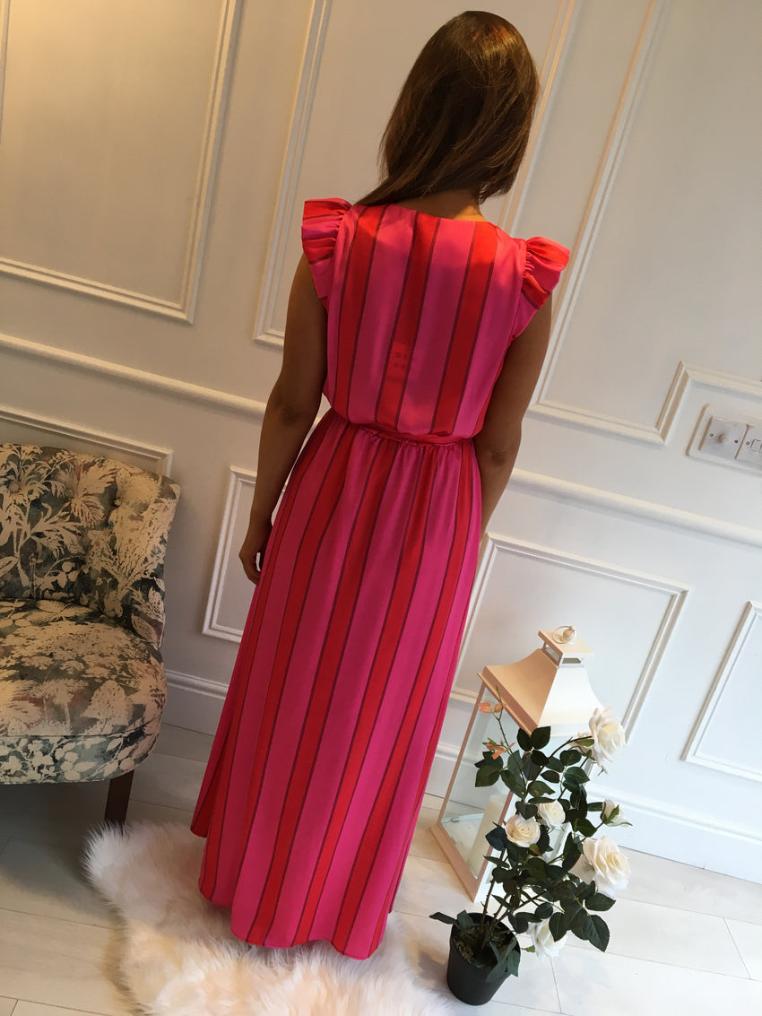 Red & Pink Stripe Gown