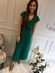 Green Over Lay Frill Dress