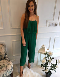 Green Pleat Jumpsuit