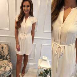 Nude Shift Tie Dress