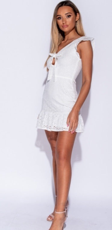 White Lace Front Tie Hem Dress