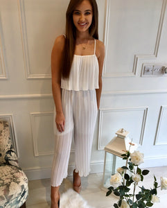 White Pleat Jumpsuit