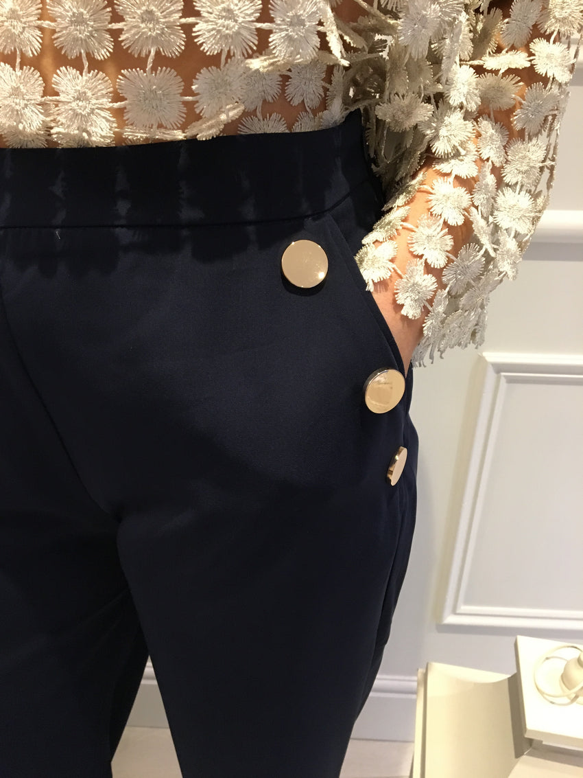 Navy Pants with Gold Button Detail