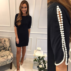 Navy Pearl Detail Dress