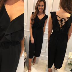 Black Tie Detail Culotte Jumpsuit