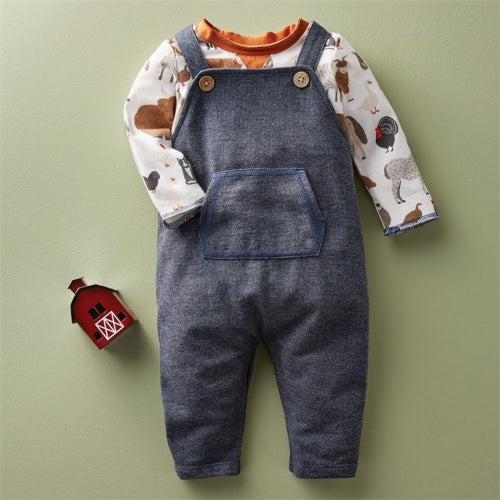 Farm Animals Overall Set 6-9 Months