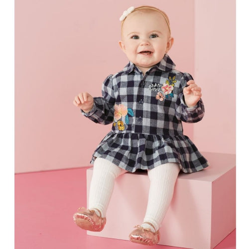 Check Flannel Floral Skirted Crawler 9-12 Months