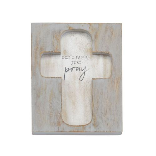 Just Pray Cross Plaque