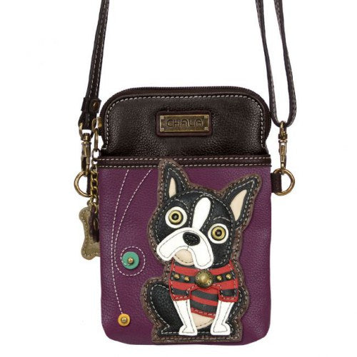 Chala Cell Phone Xbody Boston Terrier Purple