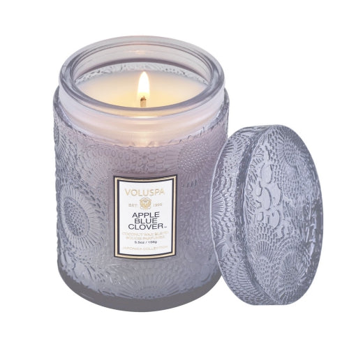 Voluspa Apple Blue Clover Small Embossed Glass Jar Candle