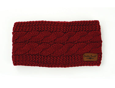Cable Knit Headwarmer Burgundy