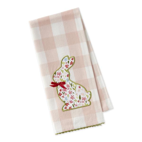Sweet Flower Bunny Embellished Dishtowel