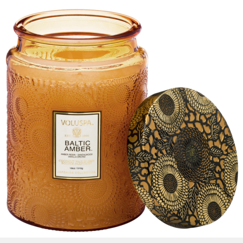 Voluspa Baltic Amber Large Embossed Glass Jar Candle