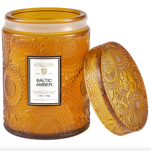 Voluspa Baltic Amber Small Embossed Glass Jar Candle