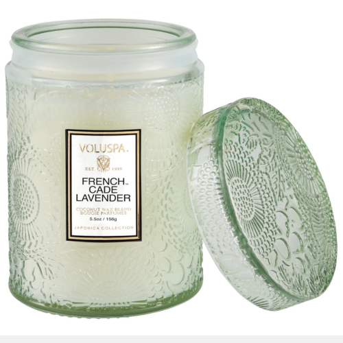 Voluspa French Cade Lavender Small Embossed Glass Jar Candle