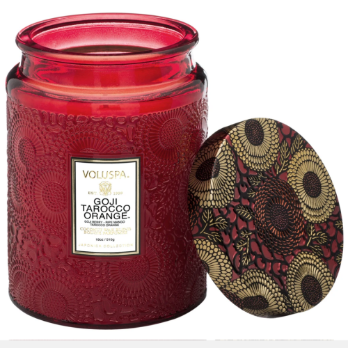 Voluspa Goji Tarocco Orange Large Embossed Glass Jar Candle