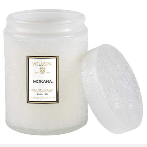 Voluspa Mokara Small Embossed Glass Jar Candle