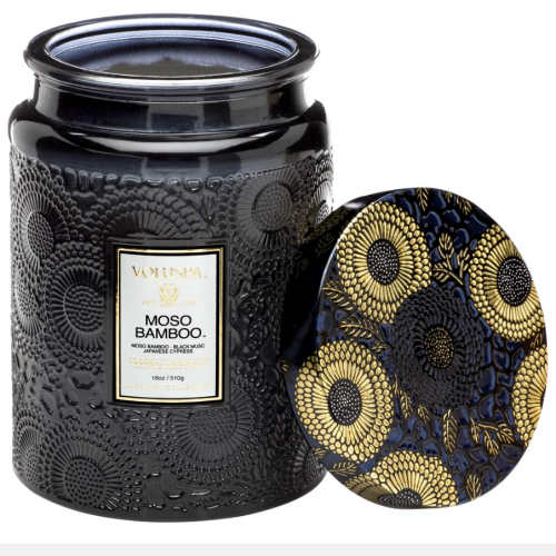 Voluspa Moso Bamboo Large Embossed Glass Jar Candle