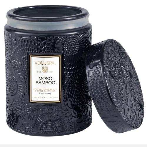 Voluspa Moso Bamboo Small Embossed Glass Jar Candle