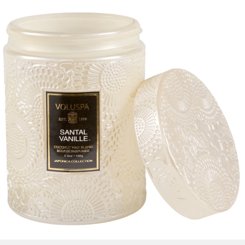 Voluspa Santal Vanille Small Embossed Glass Jar Candle