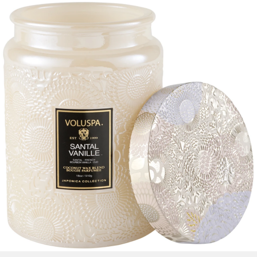 Voluspa Santal Vanille Large Embossed Glass Jar Candle