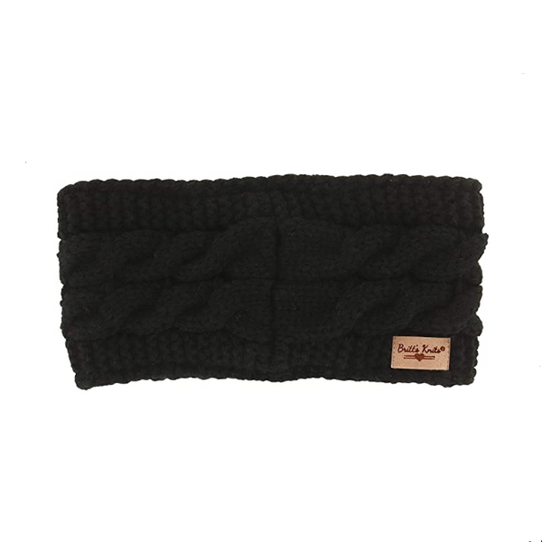 Cable Knit Headwarmer Black