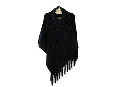 Beyond Soft Cowl Neck Poncho Black