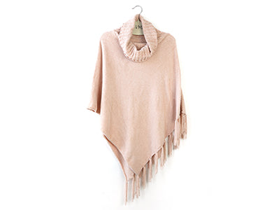 Beyond Soft Cowl Neck Poncho Blush