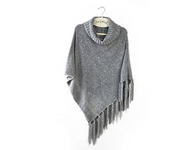 Beyond Soft Cowl Neck Poncho Gray