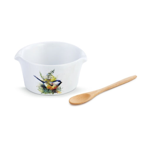 Chickadee and Ferns Appetizer Bowl with Spoon