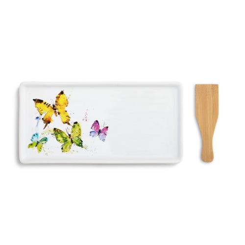 Flock of Butterflies Appetizer Tray with Spatula