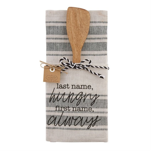 Last Name Hungry Towel & Wood Utensil Set
