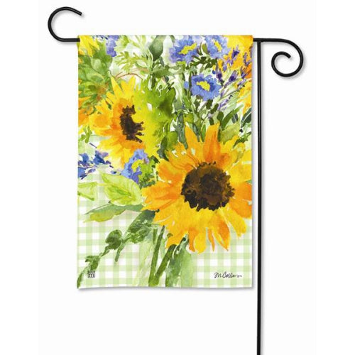 Sunflower Gingham Garden Flag