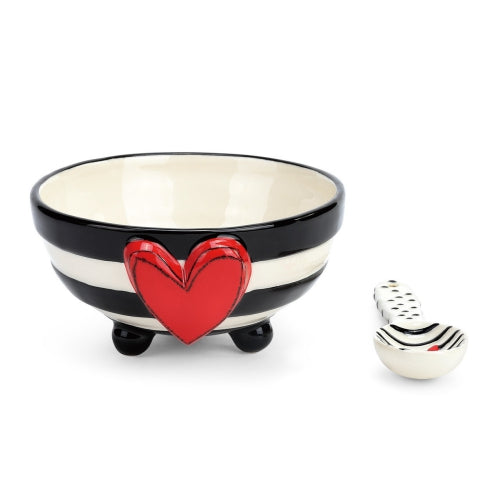 Wide Stripe Bowl with Spoon