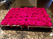 Black and Silver Contemporary Tray with Fuchsia Roses - Roses Ever After