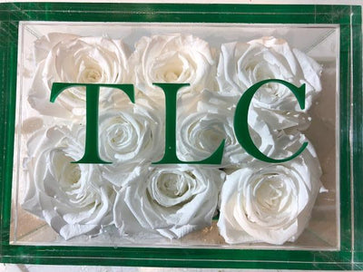 Three Initials on a Lucite Lid - Roses Ever After