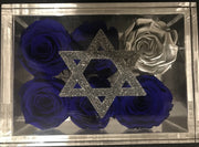 Star of David in a lucite box, without roses - Roses Ever After