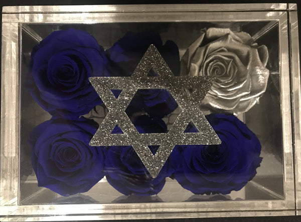 Star of David with 6 roses that will last a year