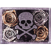 Skull & Cross Bone Lucite Box - Roses Ever After
