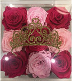 Princess Crown - 7x7, 9 everlasting roses - great for Bat Mitzvah, Sweet 16 or for a baby girl