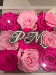 Monogrammed Lucite - 7x7,  9 roses - Roses Ever After