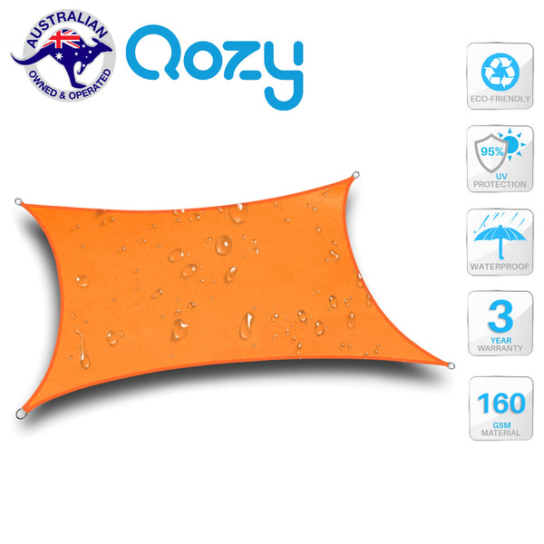 Qozy Waterproof 160gsm canopy shade sail patio pool garden UV Square Rectangle Multi Colour