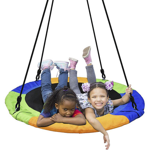 QOZY Flying Saucer Swing Set, Toddler Tree Swing, Hanging Rope Round Disc Swing, for Indoor Outdoor Kids Baby Backyards Playground Playroom Accessories